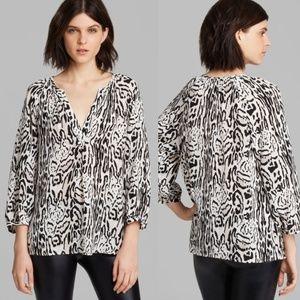 Joie Addie B Animal Print Blouse 100% Silk Large